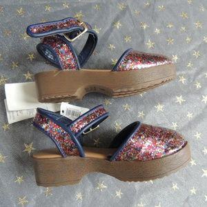 NWT Baby Girls Shoe Sz 6 GAP Multi Glitter Sandals